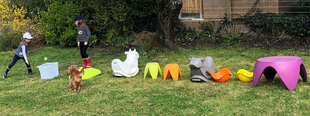 Créer un parcours de motricité pour bébé dans le jardin avec Wesco